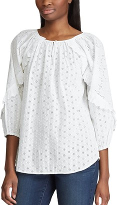 Chaps Women's Eyelet Peasant Top