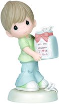 """Precious Moments 144002 Mother's Day Gifts, """"All The Reasons I Love Mom"""", Boy, Bisque Porcelain Figurine"""