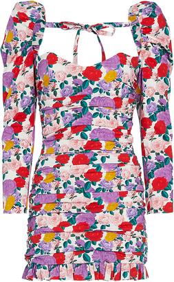 Giuseppe di Morabito Ruched Floral Poplin Mini Dress