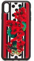 Dolce & Gabbana Geranium-print Dauphine-leather Iphone Xr Case - Womens - Red Multi