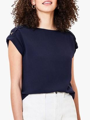 Oasis Lace Trim T-Shirt, Navy