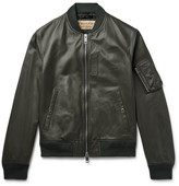 Burberry Leather Bomber Jacket - Army green