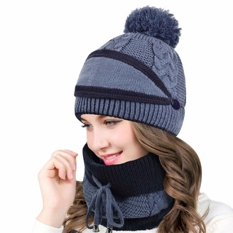 Tuopuda 4 PCS Womens Winter Scarf Set Thickend Knitted Hat Scarf Face Cover Warm Knit Beanie Hat Scarf Touch Screen Gloves Women Pom Pom Cap for Outdoor Sports (Pink-3pcs Set)