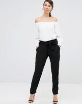 Lavand Waist Tie Paperbag Waist Pants In Black