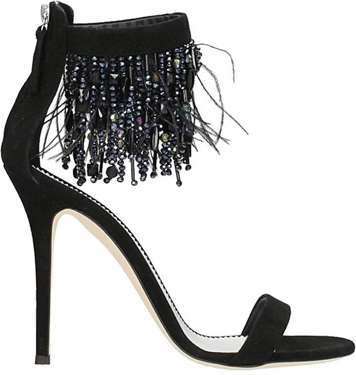 Giuseppe Zanotti Black Suede Crystals Sandals