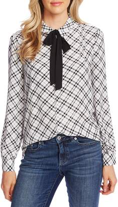 CeCe Plaid Pintuck Tie Neck Long Sleeve Blouse
