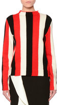 MSGM Striped Wool-Blend Pullover Sweater, Red