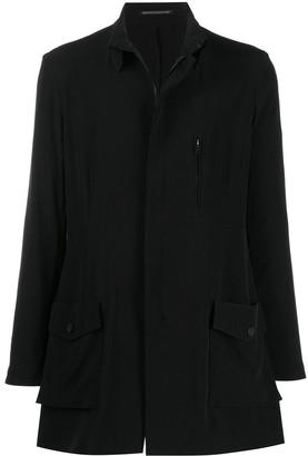 Yohji Yamamoto Rear Logo Print Oversized Shirt Jacket