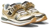 Moschino Kid-Teen Flash Gold and Glitter Branded Trainers