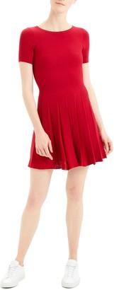 Theory Pleated Short Sleeve Dress