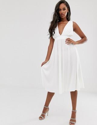 Asos Design DESIGN plunge plisse midi dress with tie back