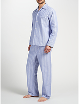 Derek Rose Brushed Cotton Stripe Pyjamas, White/blue