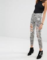 Missguided Riot Mom High Rise Ripped Camo Slim Leg Jean