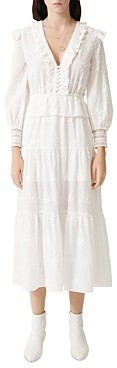 Maje Roxana Lace Embroidered Midi Dress
