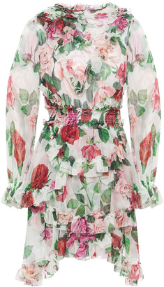 Dolce & Gabbana Ruffled Shirred Floral-print Silk-voile Mini Dress