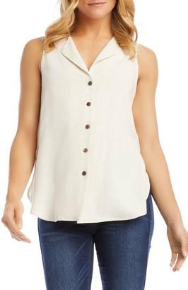 Karen Kane Button-Up Sleeveless Blouse