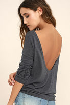 LuLu*s Afternoon Daydream Dark Heather Blue Backless Sweater