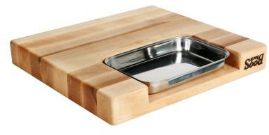John Boos & Co. Edge-Grain Rectangular Maple Cutting Board with Insert
