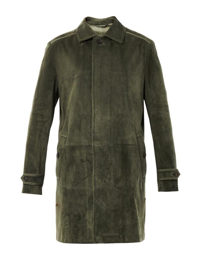 Brioni Point-collar suede coat