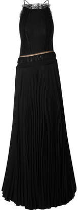 Jason Wu Collection - Open-back Lace-trimmed Silk-georgette And Pleated Jersey Gown - Black