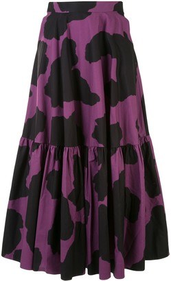 Graphic Print Tiered Skirt