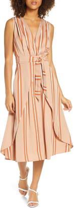 Sancia Ada Stripe Faux Wrap Midi Dress
