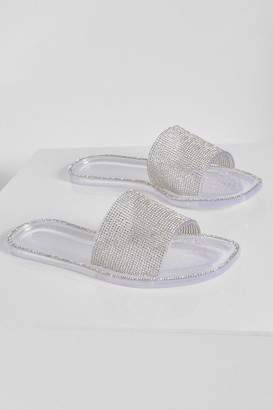 boohoo Diamante Detail Jelly Sandal