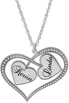JCPenney FINE JEWELRY Personalized Sterling Silver Double Heart Couples Pendant Necklace