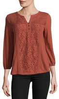 Style And Co. Petite Lace Panel Blouse