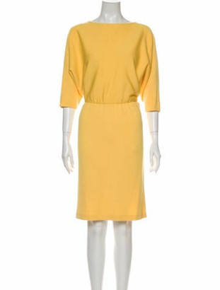 St. John Bateau Neckline Knee-Length Dress Yellow