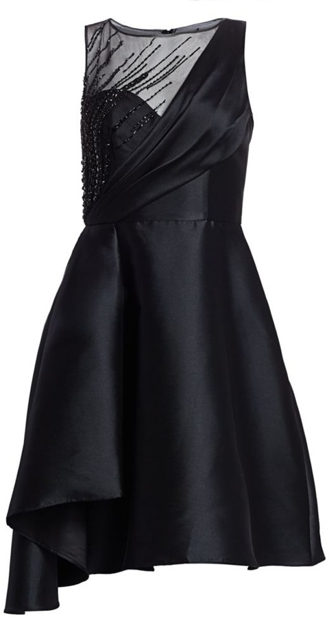 Theia Faille Fit-&-Flare Cocktail Dress
