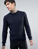 Farah Lewes Crew Sweater Cable Knit Slim Fit in Navy