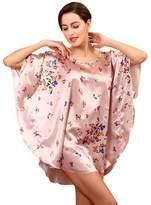 NiSeng Nightwear Batwing Sleeve Nightgown Butterfly Pattern Sleepwear