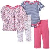 Bon Bebe Floral & Stripes 4 Piece Set (Baby)-Multicolor-0-3 Months