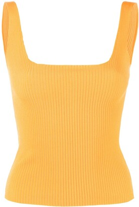 Sandro Paris Square Neck Ribbed-Knit Top
