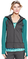 Lands' End Women's Tall Active Hooded Jacket-Brilliant Teal/Arctic Gray