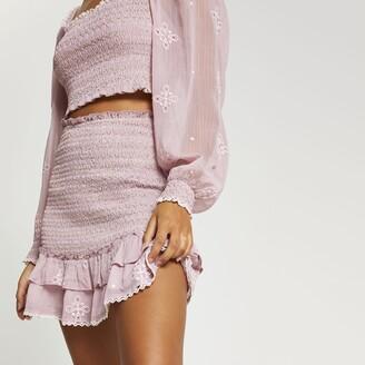 River Island Womens Purple frill detail shirred mini skirt
