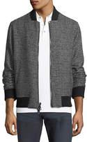 Michael Kors Check-Pattern Wool-Blend Bomber Jacket