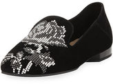 Donald J Pliner Hiro Floral-Studded Suede Loafer Flat