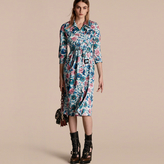 Burberry Watercolour Rose Print Cotton Silk Trench Dress