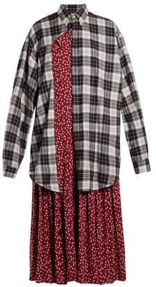 Balenciaga Layered Cotton Shirtdress - Womens - Burgundy Multi