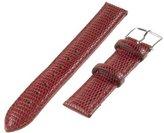 Republic Women's Lizard Grain Leather Watch Band 12mm Regular Length, Red