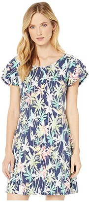 Tommy Bahama Palm Lights T-Shirt Dress (Island Navy) Women's Clothing