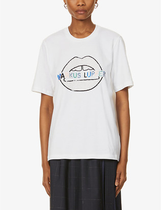 Markus Lupfer Alex logo sequin-embellished lip cotton-jersey T-shirt