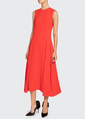 Victoria Beckham Pleated-Waist Flare Dress