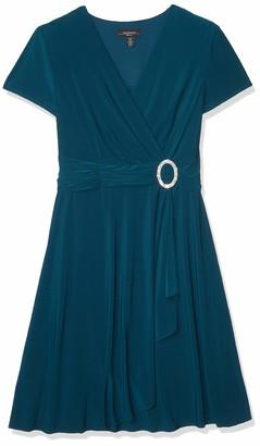 R & M Richards R&M Richards Women's Plus Size Womans Rhinestone Buckle wrap Dress