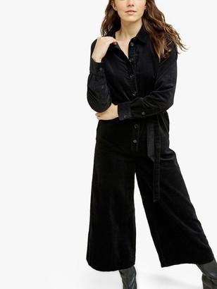 People Tree Mairi Velvet Boiler Suit, Black