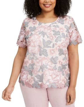 Alfred Dunner Plus Size Primrose Garden Floral-Lace Top