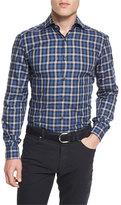Ermenegildo Zegna Plaid Long-Sleeve Sport Shirt, Navy