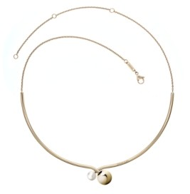Calvin Klein Bubbly Stainless Steel and Pvd Champagne Gold White Imitation Pearl Choker Necklace